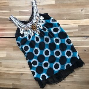 Tops - Blue and Black Beaded Lace Flowing Tank Top